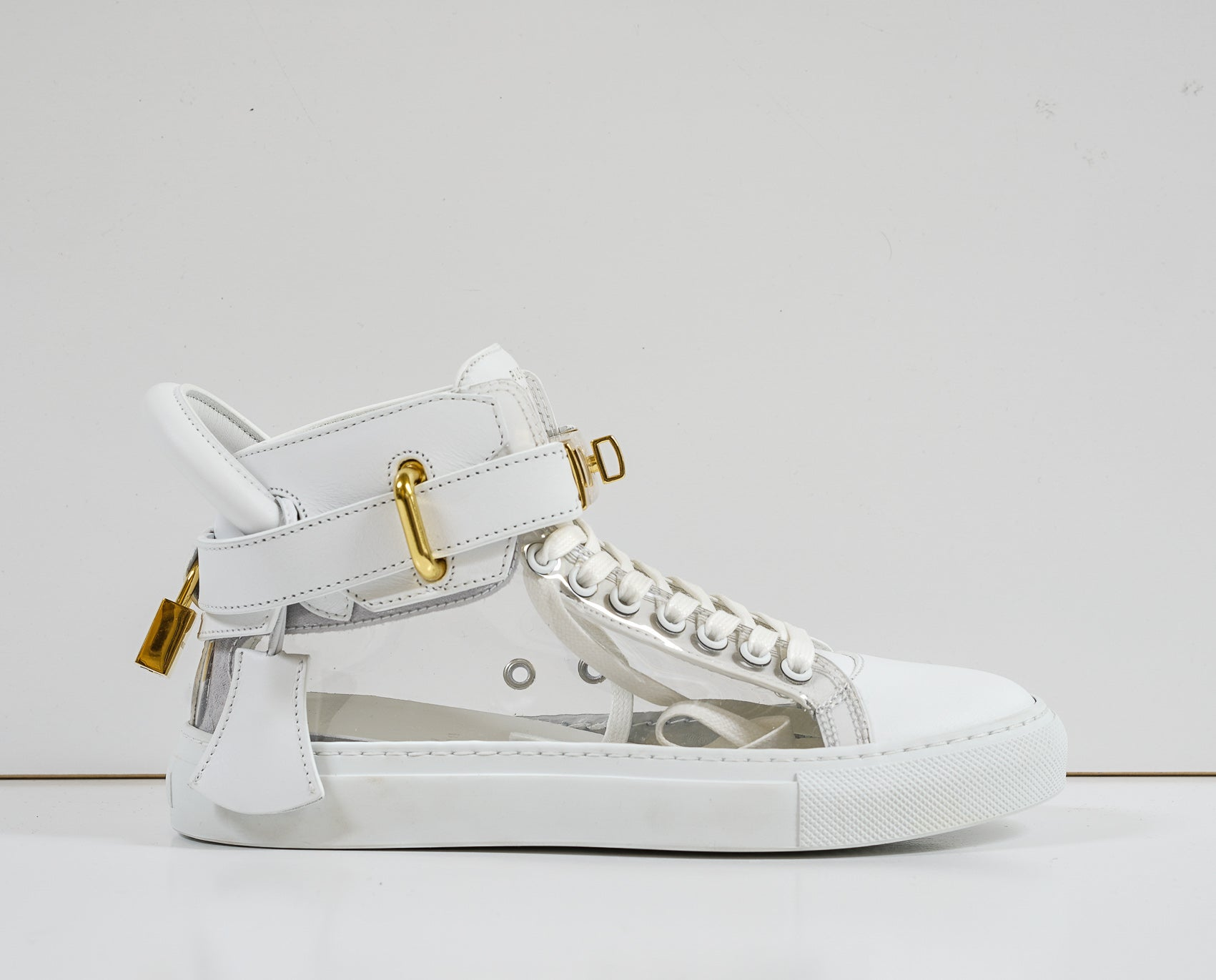 Buscemi Women's White & Crystal Leather Hi Top Sneakers W117SU