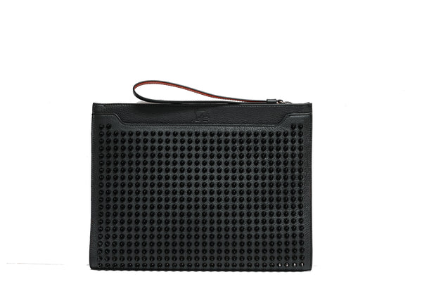 Christian Louboutin Black Skypouch Leather Empire Bag with Spikes 3205225
