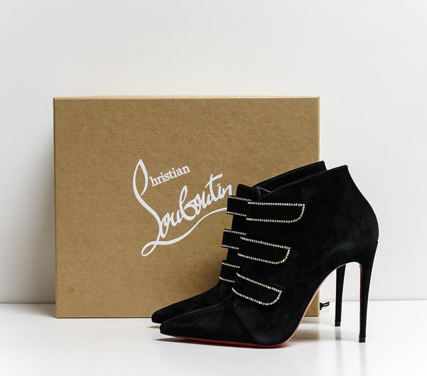 Christian Louboutin Black Suede TriniBoot Strass 3191015