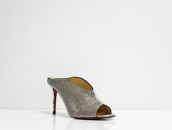 Christian Louboutin Black & Crystal Ice Bear 85 Sandal 3190522