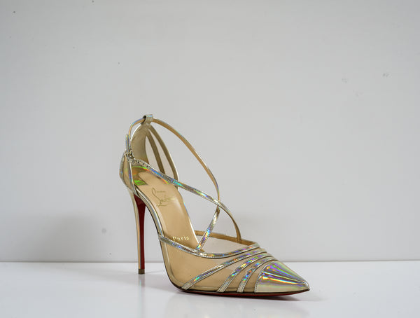 Christian Louboutin Platinum Leather Shoe Theodorella 100 3190544 - 38.5