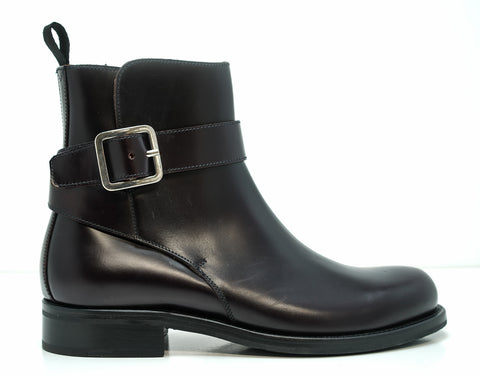 Church's Women's Burgundy Leather Buckle Boot Lauren - Last Pair 37 EU