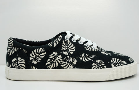 Dolce & Gabbana Men's Black and White Leaf Canvas Sneaker