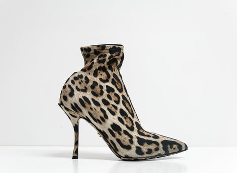 Dolce & Gabbana Leopard Print Stretch Lori Booties CT0603