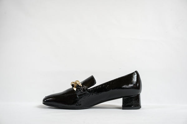 Fabio Rusconi Black Leather Chain Shoe R3864