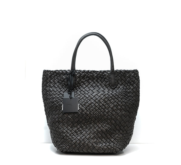 Falorni Brown Leather Woven Handbag F1714