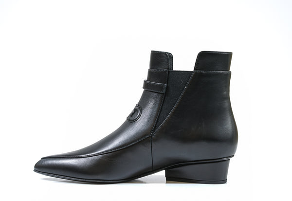 Ferragamo Black Leather Ankle Boot Mineo 732741