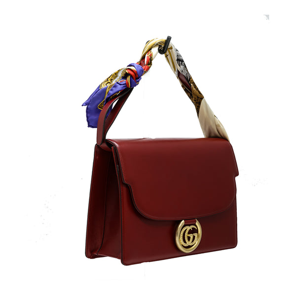 Gucci Women's Red Leather Scarf Handbag 596478