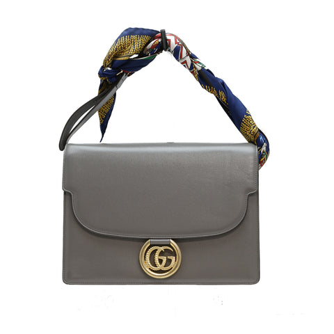 Gucci Women's Dusty Grey Leather Scarf Handbag 596478