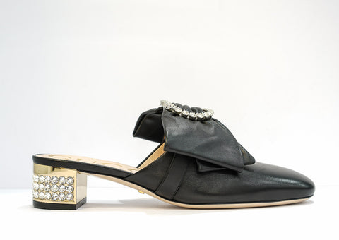 Gucci Black Leather & Jewel Mule 481163