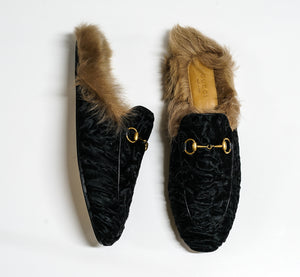 Gucci Women's Black Velvet & Fur Slipper 494103
