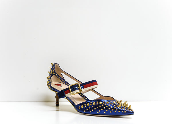 Gucci Women's Sylvie Bamboo Trim Blue Metallic Stud Shoe