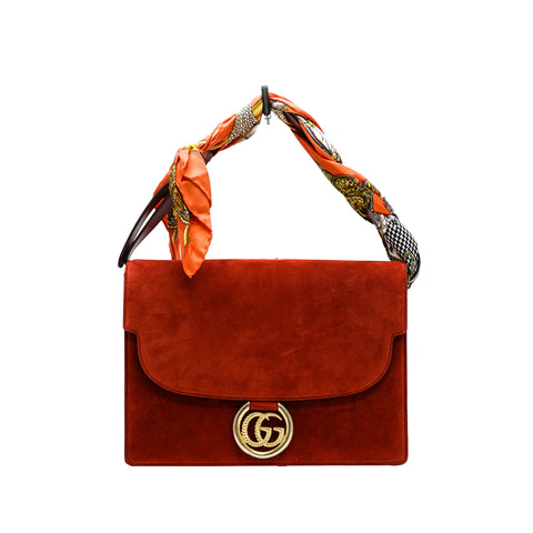 Gucci Women's Red Suede Scarf Handbag 596478