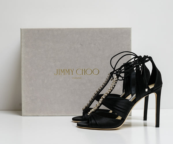Jimmy Choo Black Satin Sandal Kenny 100