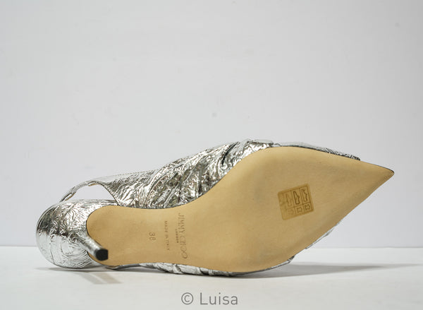 Jimmy Choo Ladies Silver Leather Slingback Annabell 85