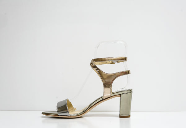 Jimmy Choo Metallic Mix Liquid Mirror Leather Sandal Marine 65