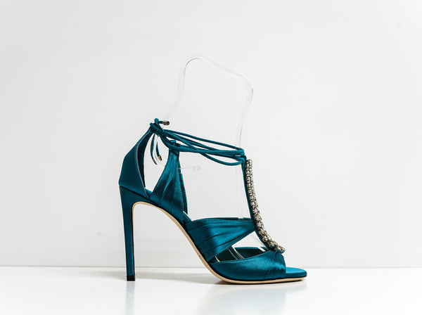 Jimmy Choo Teal Satin Sandal Kenny 100