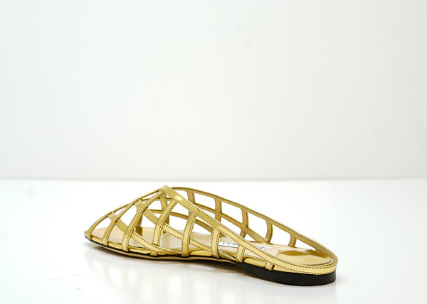 Jimmy Choo Women's Gold Leather Flats SAI FLAT