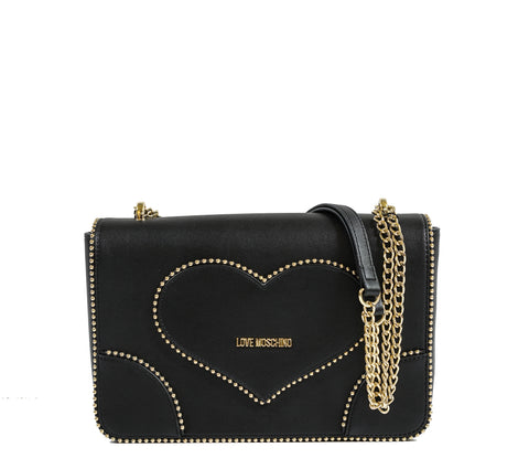 Love Moschino Black & Gold Heart Bag JC4243