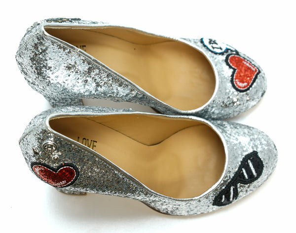 Love Moschino Ladies Silver Glitter Shoe JA1001