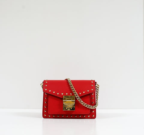 MCM Red Leather Small Studded Satchel Patricia