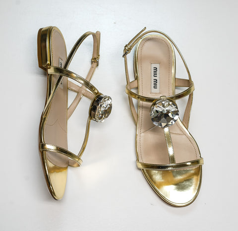 Miu Miu Women's Gold Jewel Flat Sandal 5X947