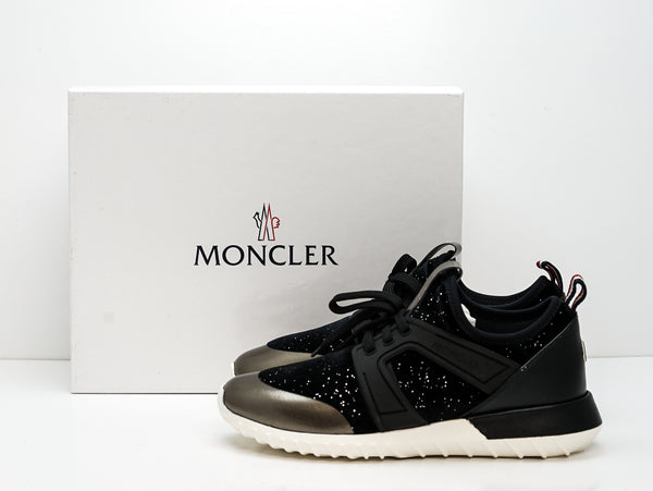 Moncler Women's Black & Platinum Logo Sneakers A2021