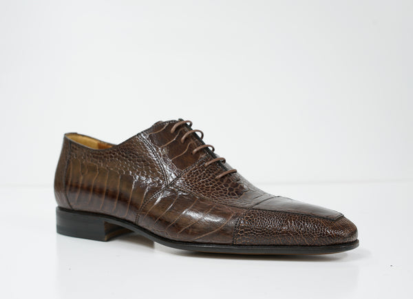 Moreschi Men's Ostrich Brown Lace Up Shoe 039419 - Size 5 Last Size