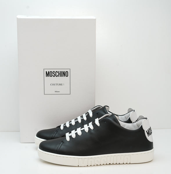 Moschino Men's Black & White Logo Sneakers MB15022