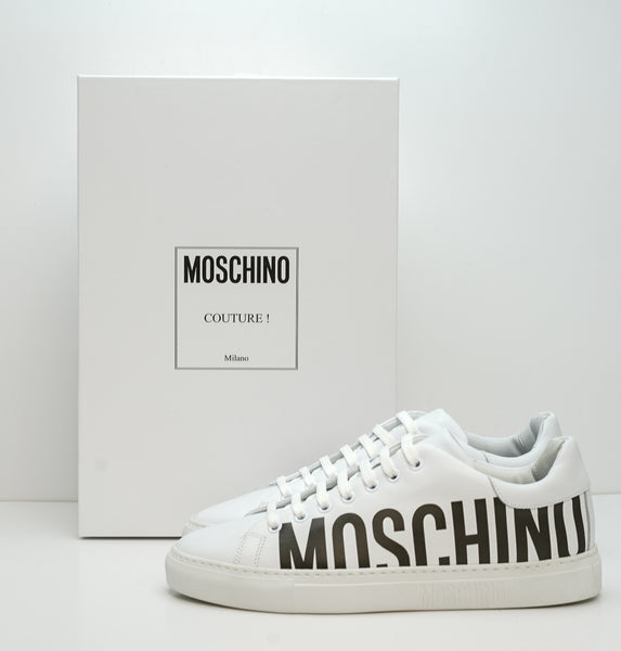 Moschino Men's White Logo Leather Sneakers MB15012