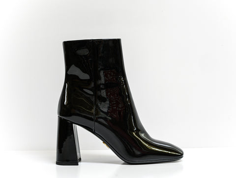 Prada Black Patent Leather Ankle Boots 1T722L