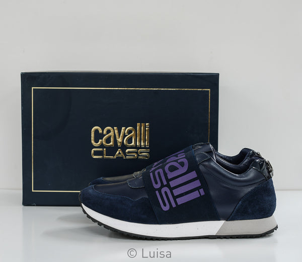 Roberto Cavalli Class Men's Blue Band Sneakers ESS120