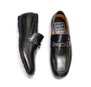 Roberto Serpentini Black Leather Bar Loafer 24230
