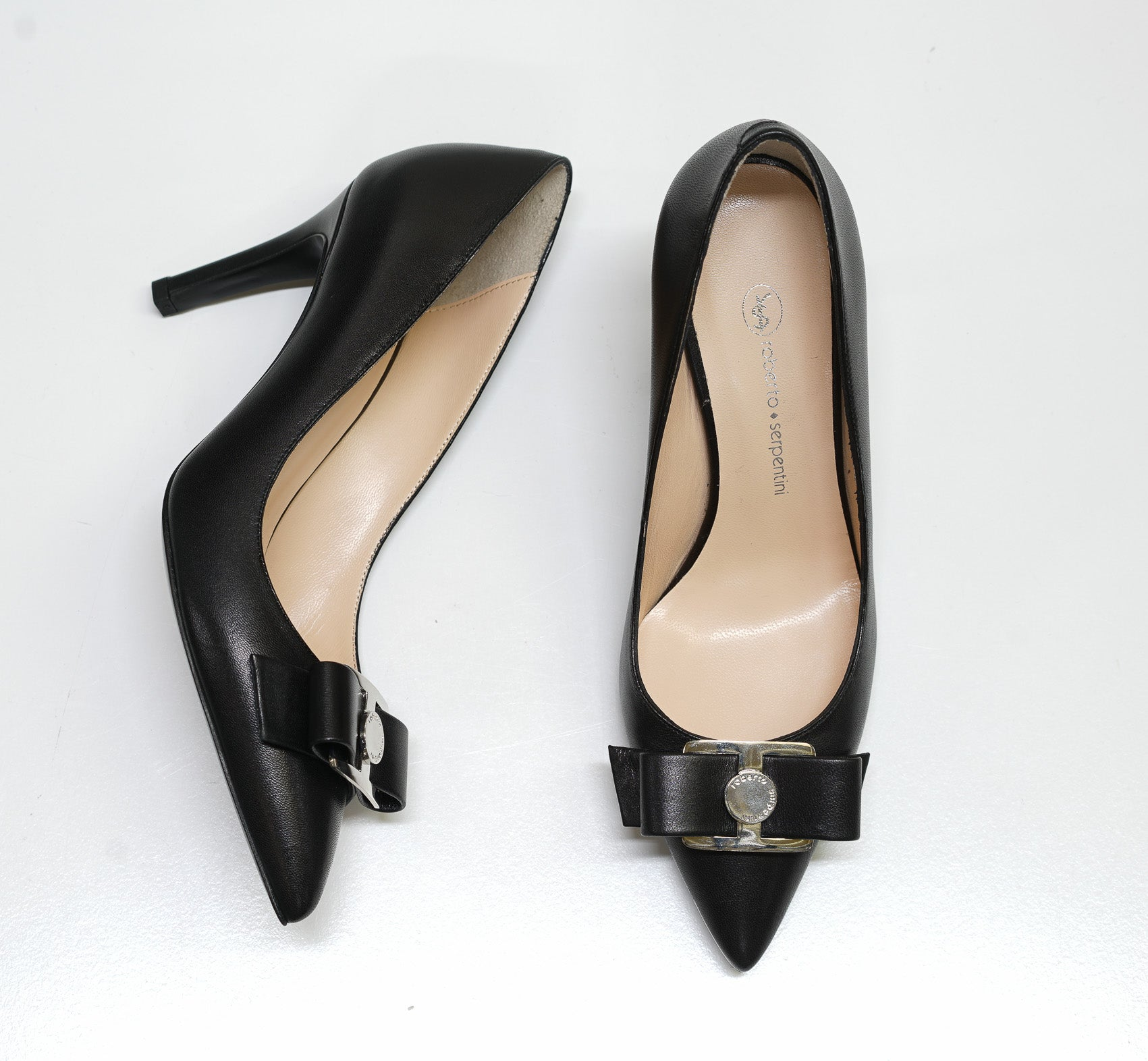 Roberto Serpentini Black Leather Pump 24056