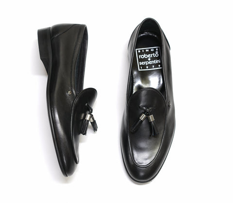 Roberto Serpentini Black Leather Tassel Loafer 61620