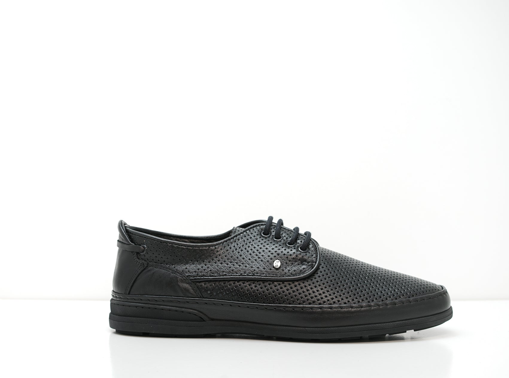 Roberto Serpentini Black Perforated Leather Lace Up 01556