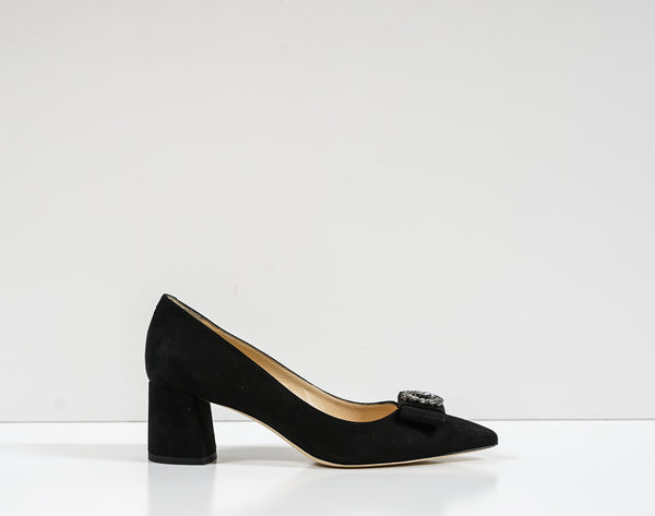 Roberto Serpentini Black Suede Jewel Pump 25068