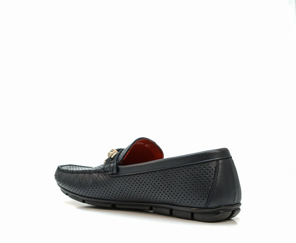 Roberto Serpentini Men's Blue Leather Rope Moccasin 4309