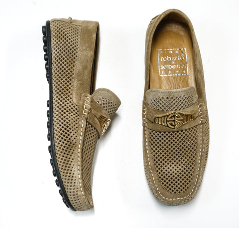 Roberto Serpentini Men's Perforated Beige Suede Moccasin 1536