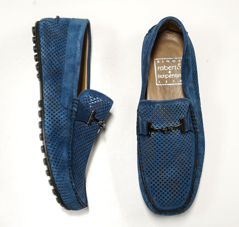 Roberto Serpentini Men's Perforated Blue Suede Moccasin 1842