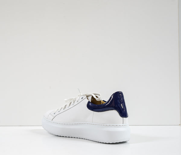 Roberto Serpentini Women's White & Blue Leather Sneakers Alex