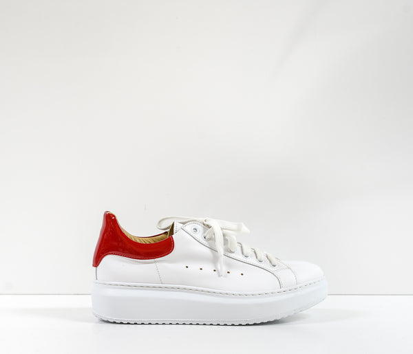 Roberto Serpentini Women's White & Red Leather Sneakers Alex