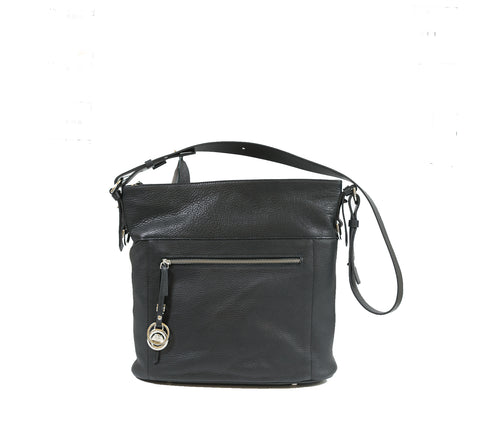 Stefano Stefani Black & Silver Soft Leather Satchel 9721