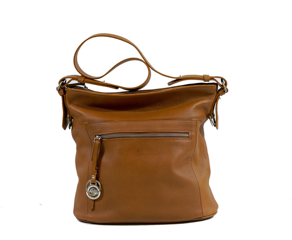 Stefano Stefani Tan & Silver Soft Leather Satchel 9721