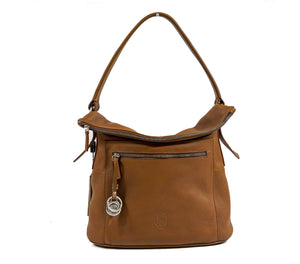 Stefano Stefani Leather Tan & Silver Trim Handbag 9722
