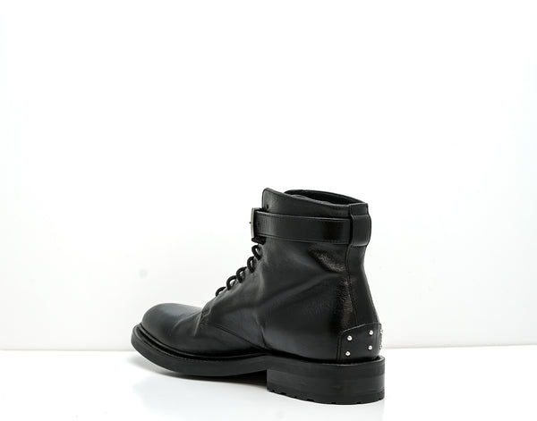 Saint Laurent Men's Black Leather Lace Up Boot Army 20 Bus La Up Bo 584731