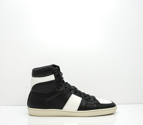 Saint Laurent Men's Black & White Leather SL10H High Top Sneaker 418026
