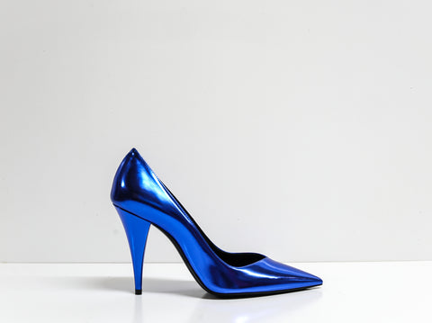 Saint Laurent Metal Blue Roy Pump Kiki 100 Pump 578599