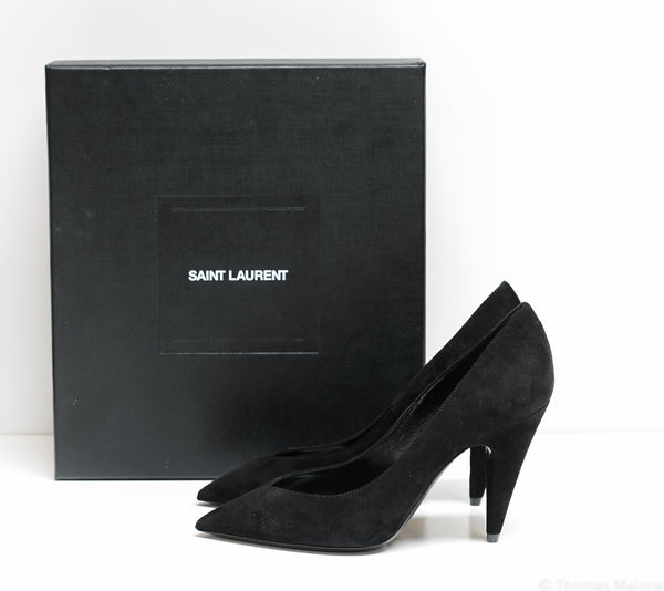 Saint Laurent Women's Black Suede Shoes Paris 95 632612