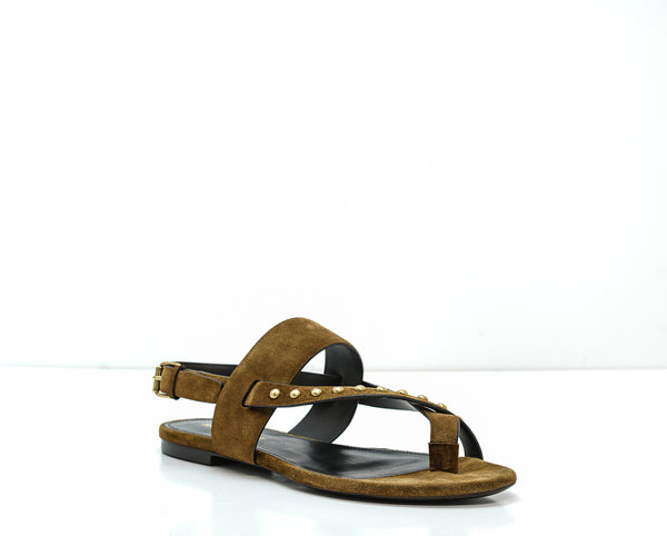 Saint Laurent Women's Brown Stud Flat Sandals GIA 05 STUDS SANDAL